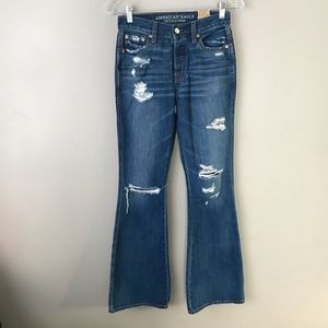 AEO distress regular vintage hi-rise flares jeans